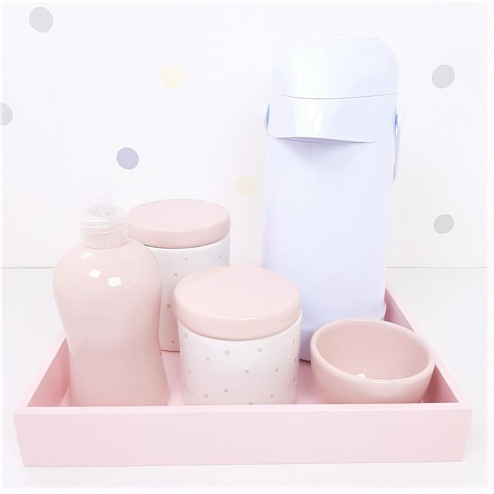Kit Higiene   Poá Rosa com Bandeja de Mdf e Garrafa Branca (LA2335)