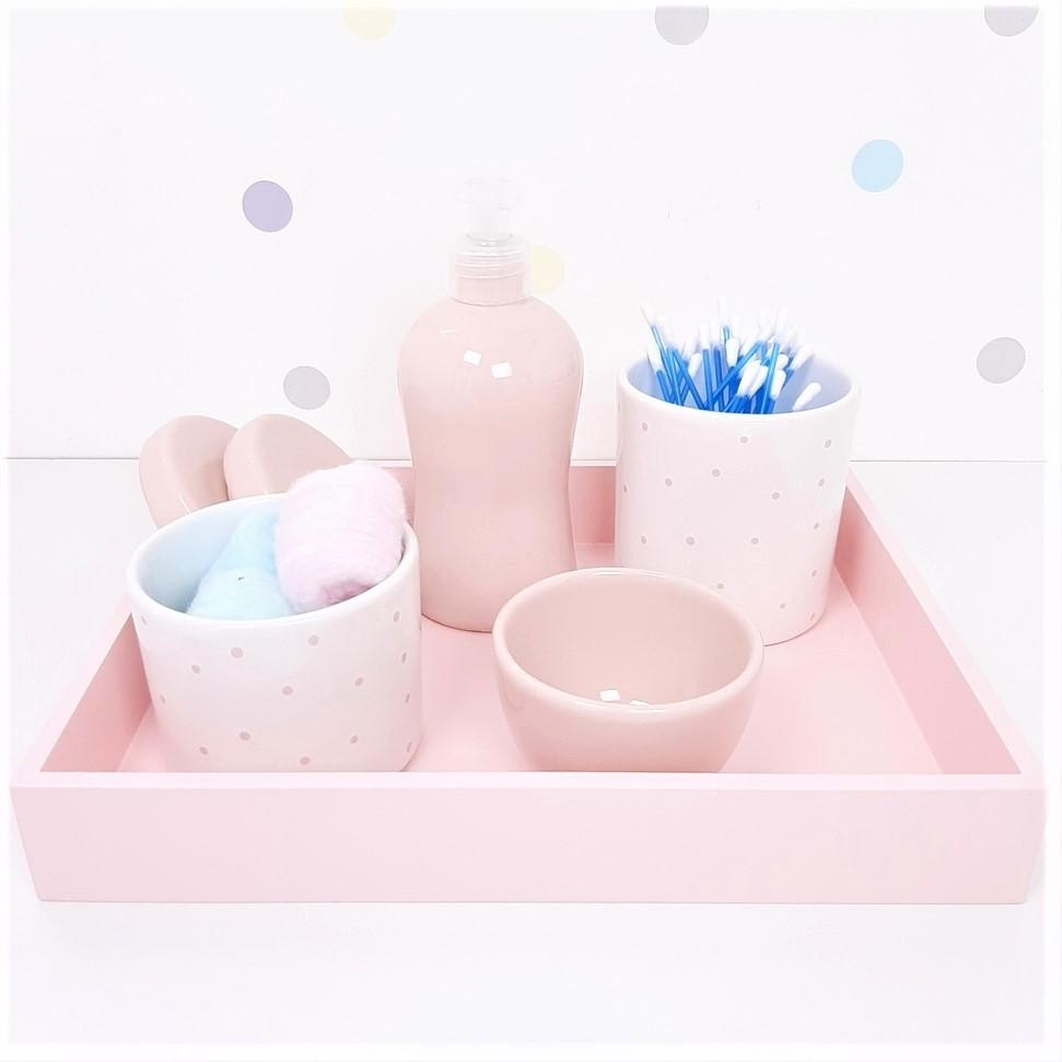 Kit Higiene | Poá Rosa com Bandeja de Mdf (LA2353)