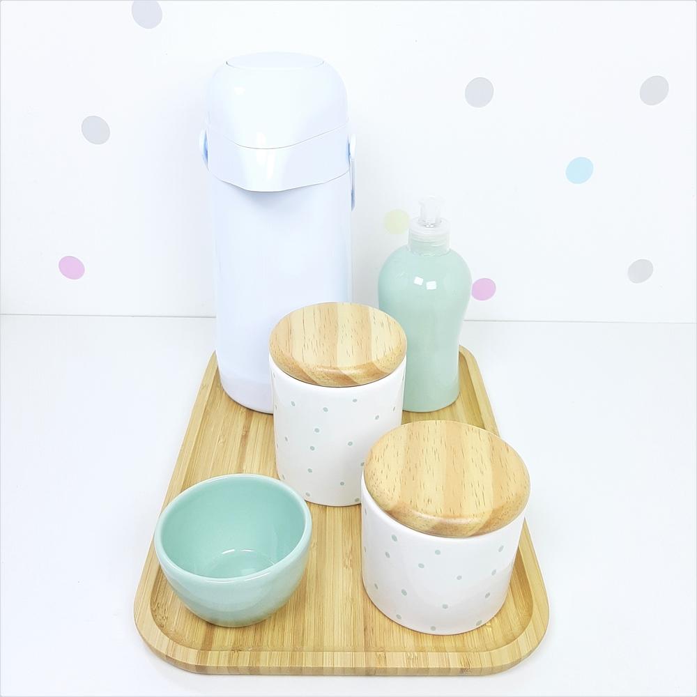 Kit Higiene | Poá Verde com Bandeja de Bambu e Garrafa Branca (LA2321)