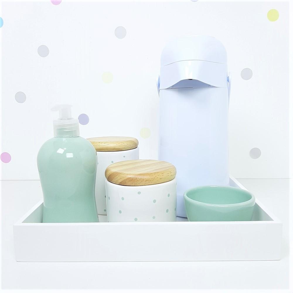 Kit Higiene | Poá Verde com Bandeja de Mdf e Garrafa Branca (LA2333)