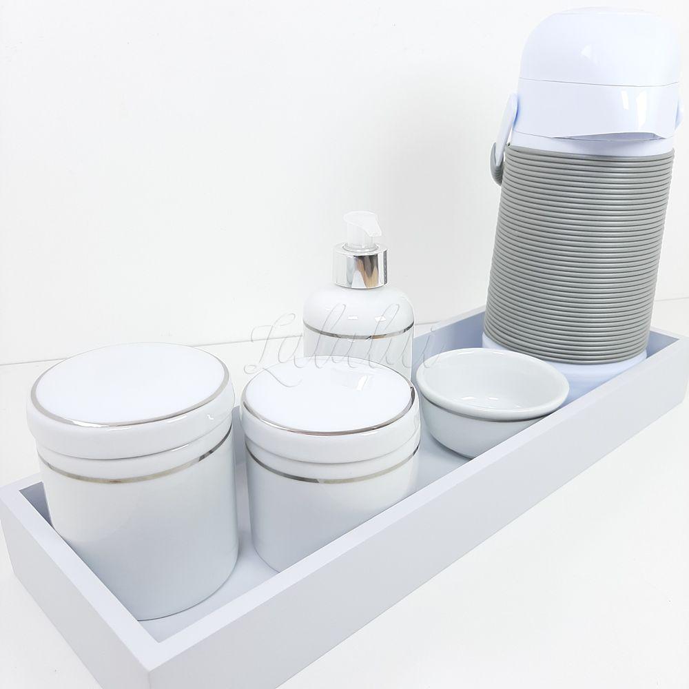 Kit Higiene | Porcelana Branca com Filete Prateado (LA2233)