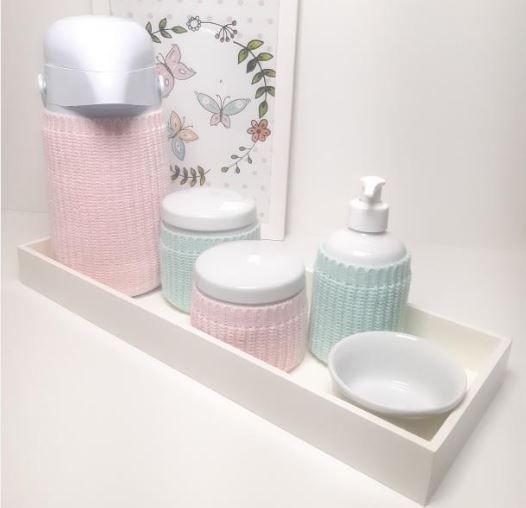 Kit Higiene porcelana completo com capinhas de tricot | P42