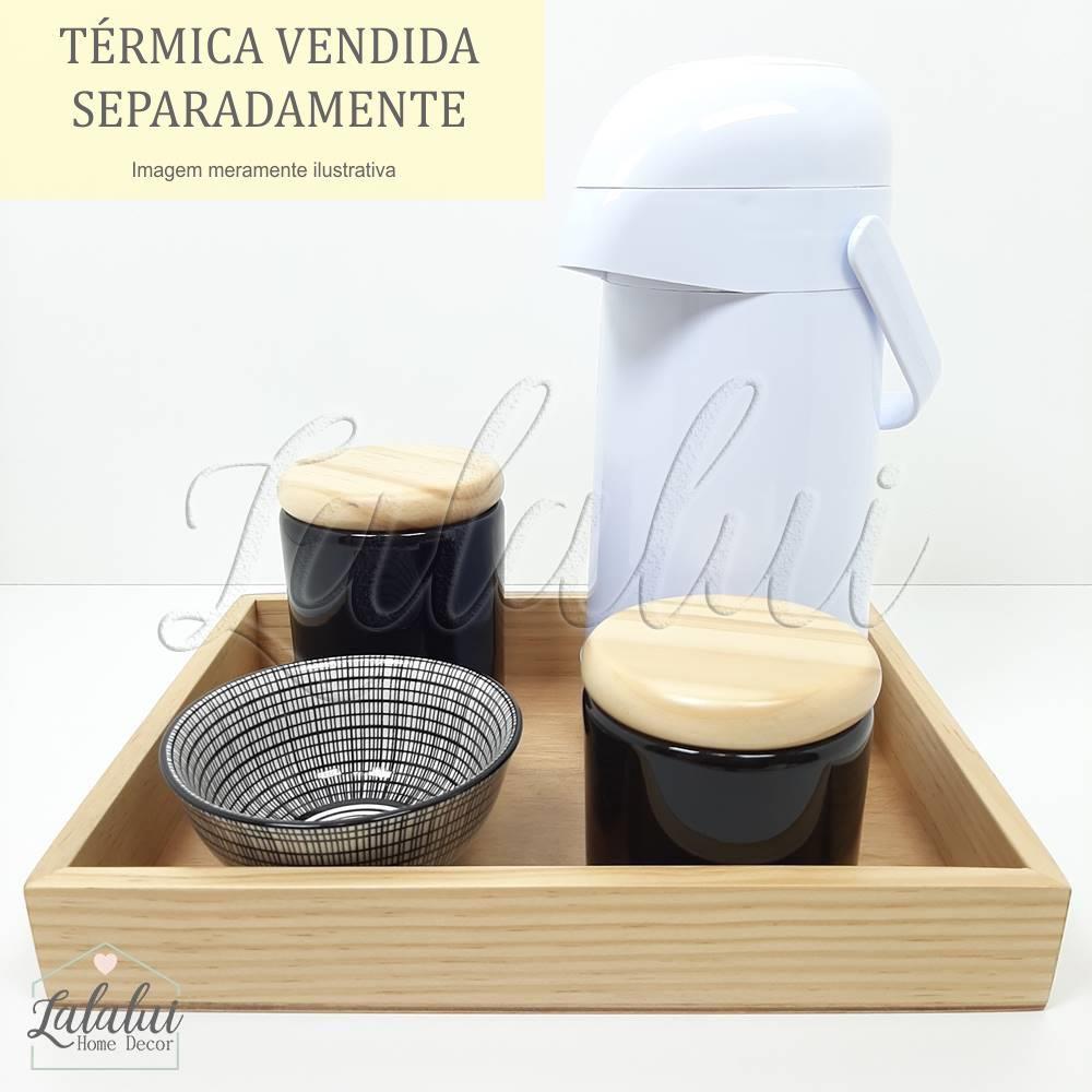 Kit Higiene | Preto e Branco com Madeira Natural (LA1161)