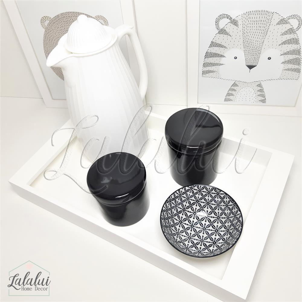 Kit Higiene Preto e Branco Lisos K52 (Quarto de Menino e Menina)