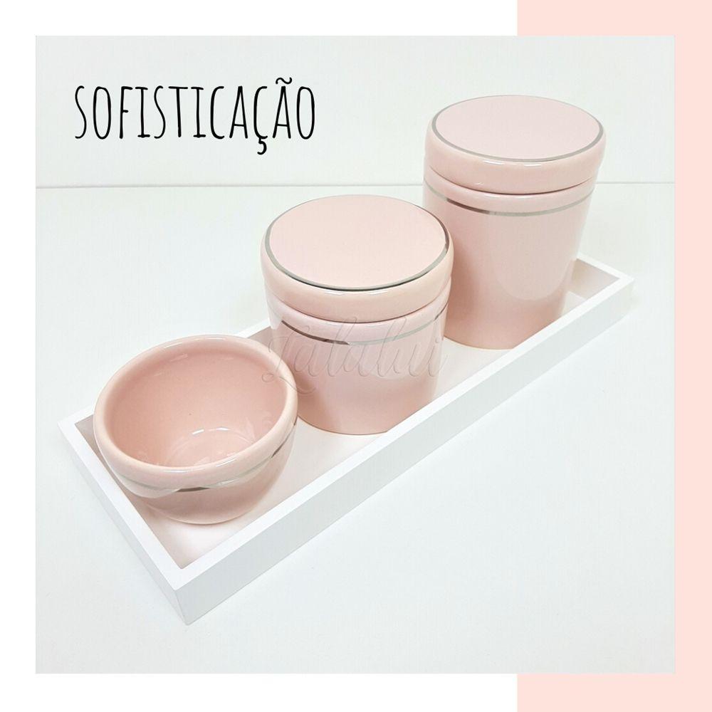 Kit Higiene | Rosa Candy com Filete Prata (LA2053)