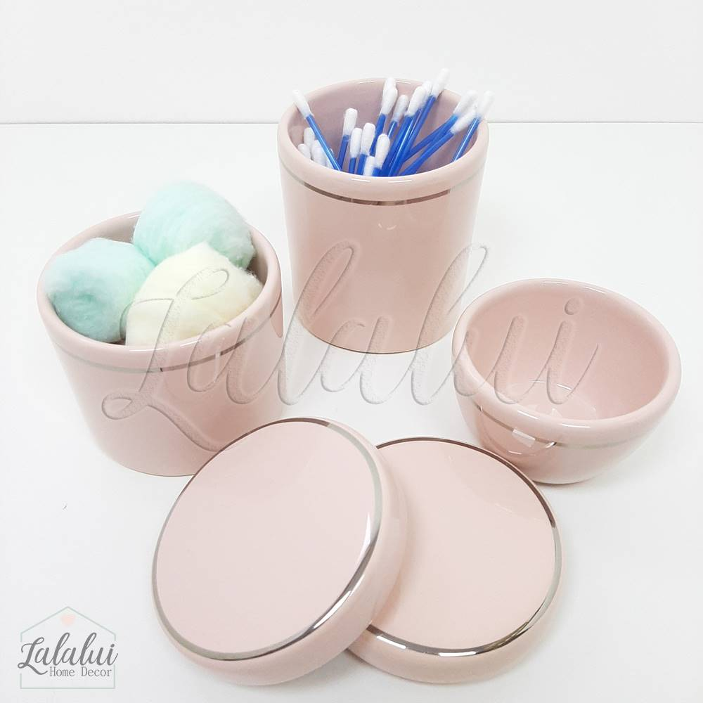 Kit de potes | Rosa Candy com Filete Prata (LA2053)