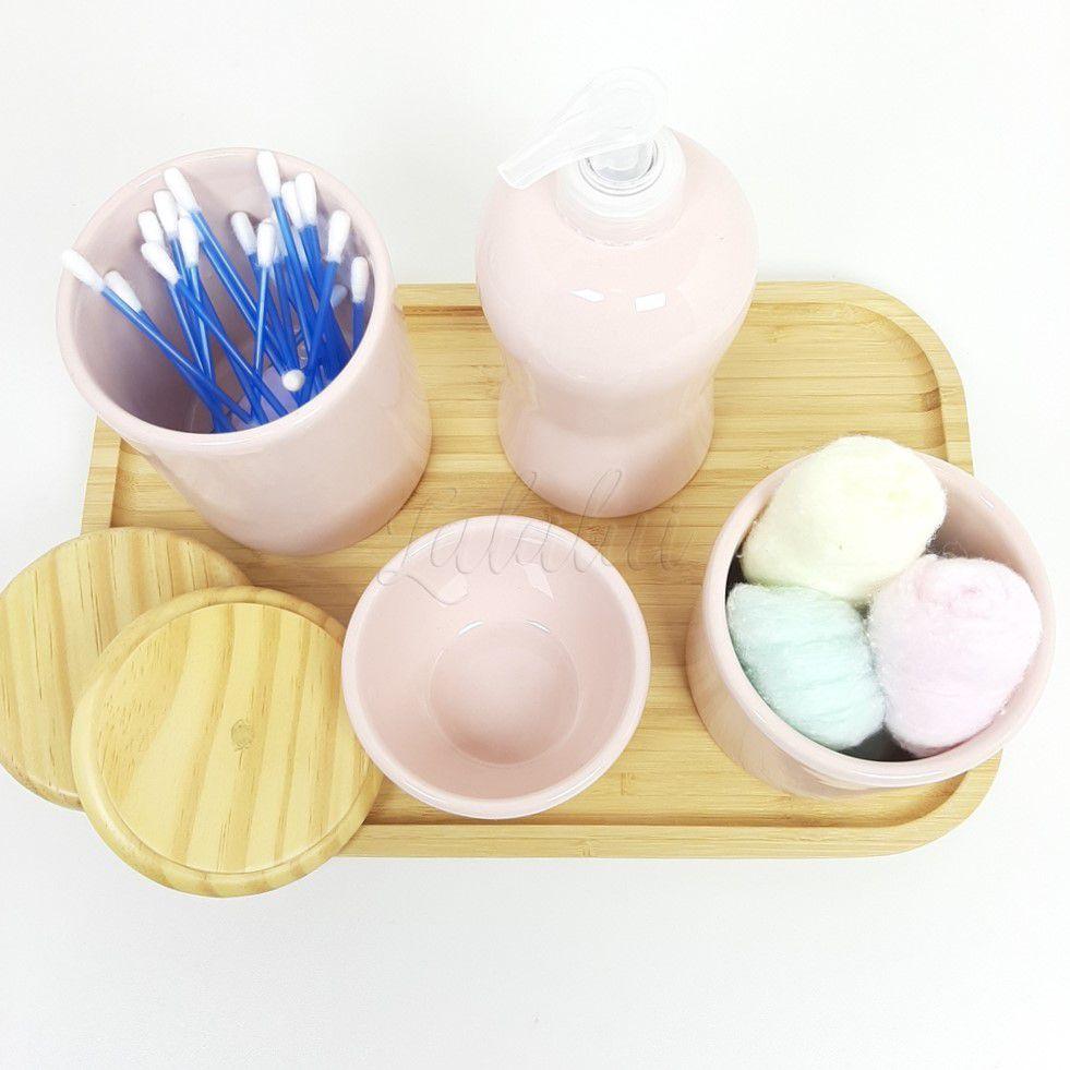 Kit Higiene   Rosa com Madeira Natural (LA2205)
