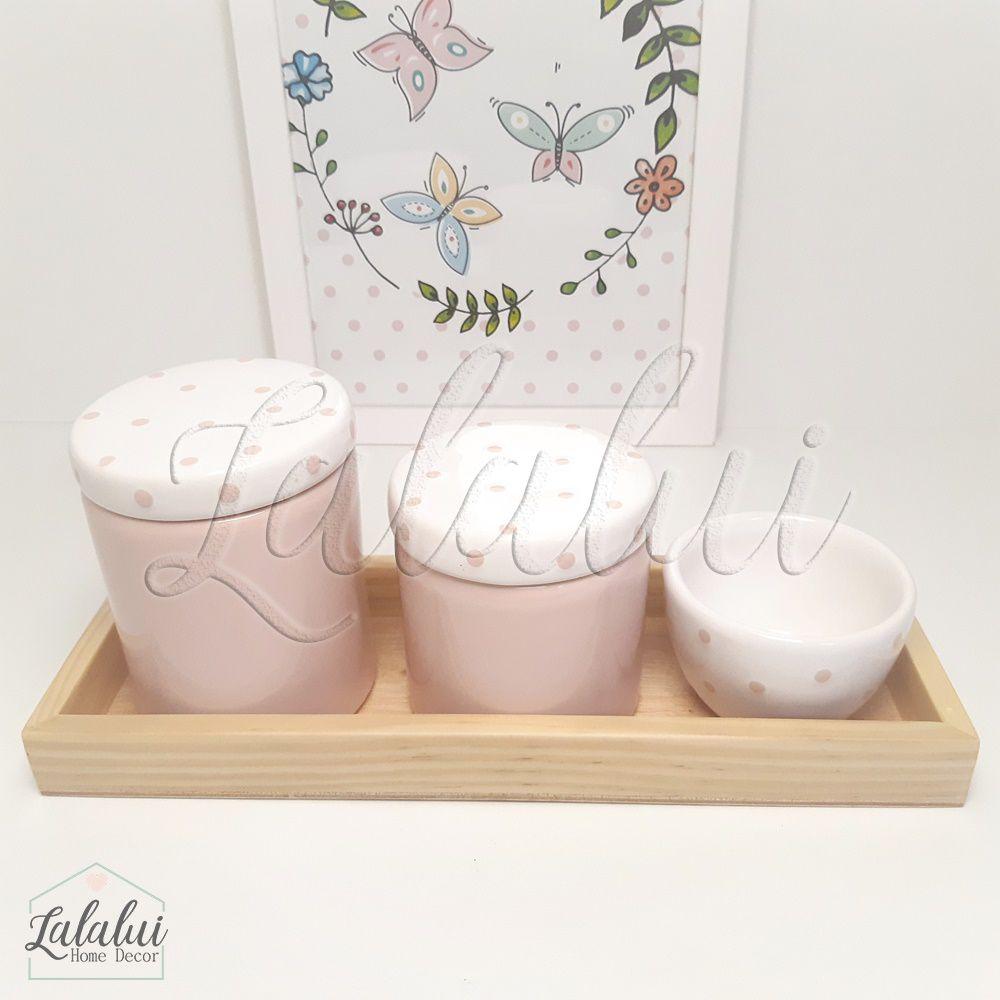 Kit Higiene Rosa e Branco com Poás K12
