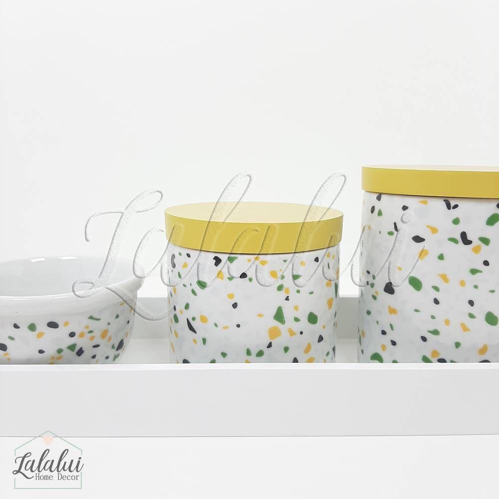 Kit Higiene   Terrazo Verde e Amarelo (LA2187)