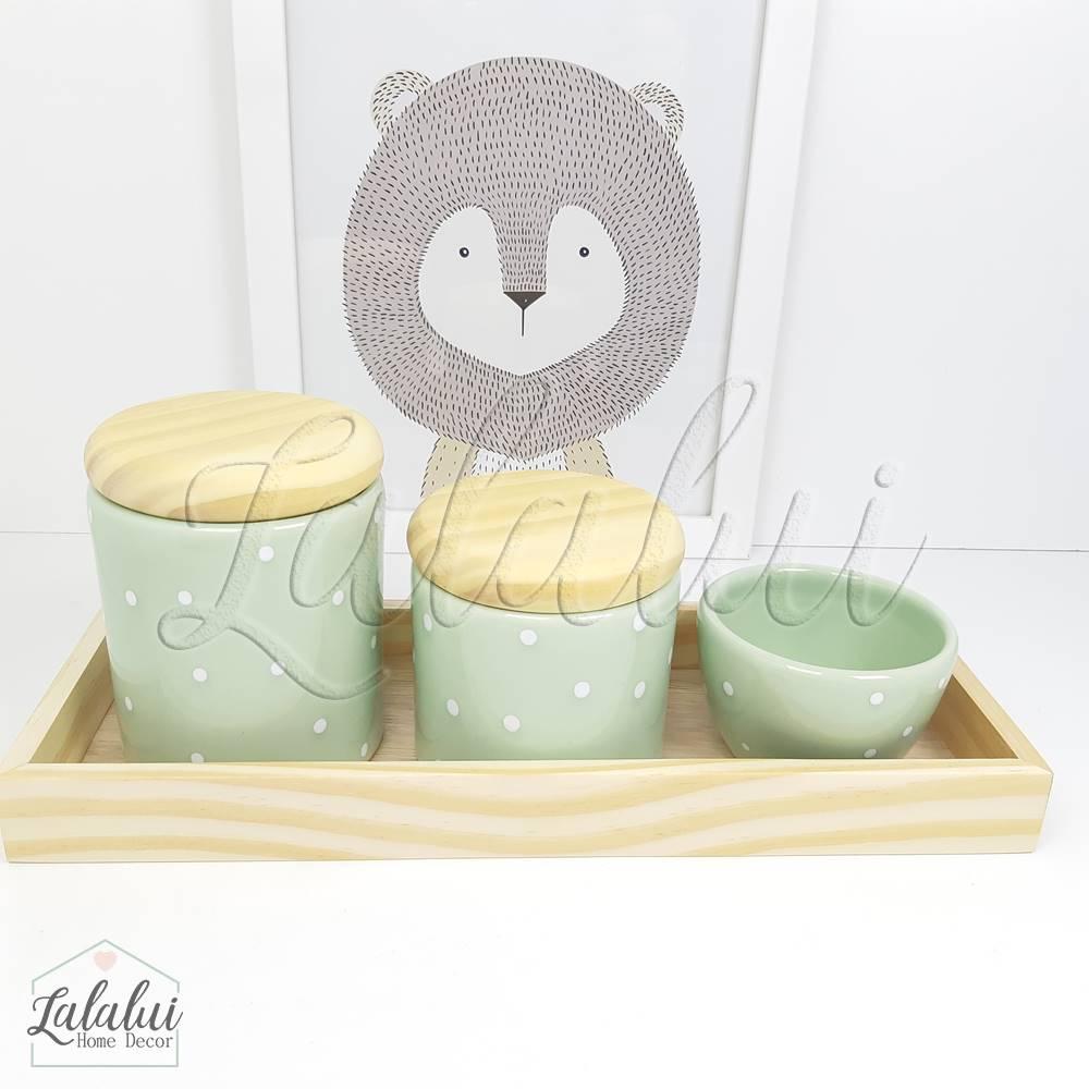 Kit Higiene | Verde Menta com Poás Brancos e Madeira Natural (LA323)