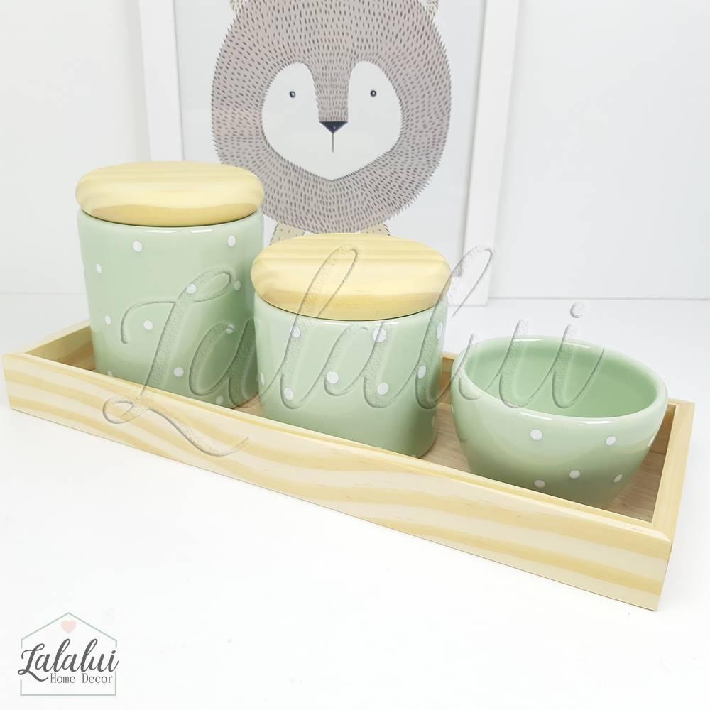 Kit Higiene   Verde Menta com Poás Brancos e Madeira Natural (LA323)