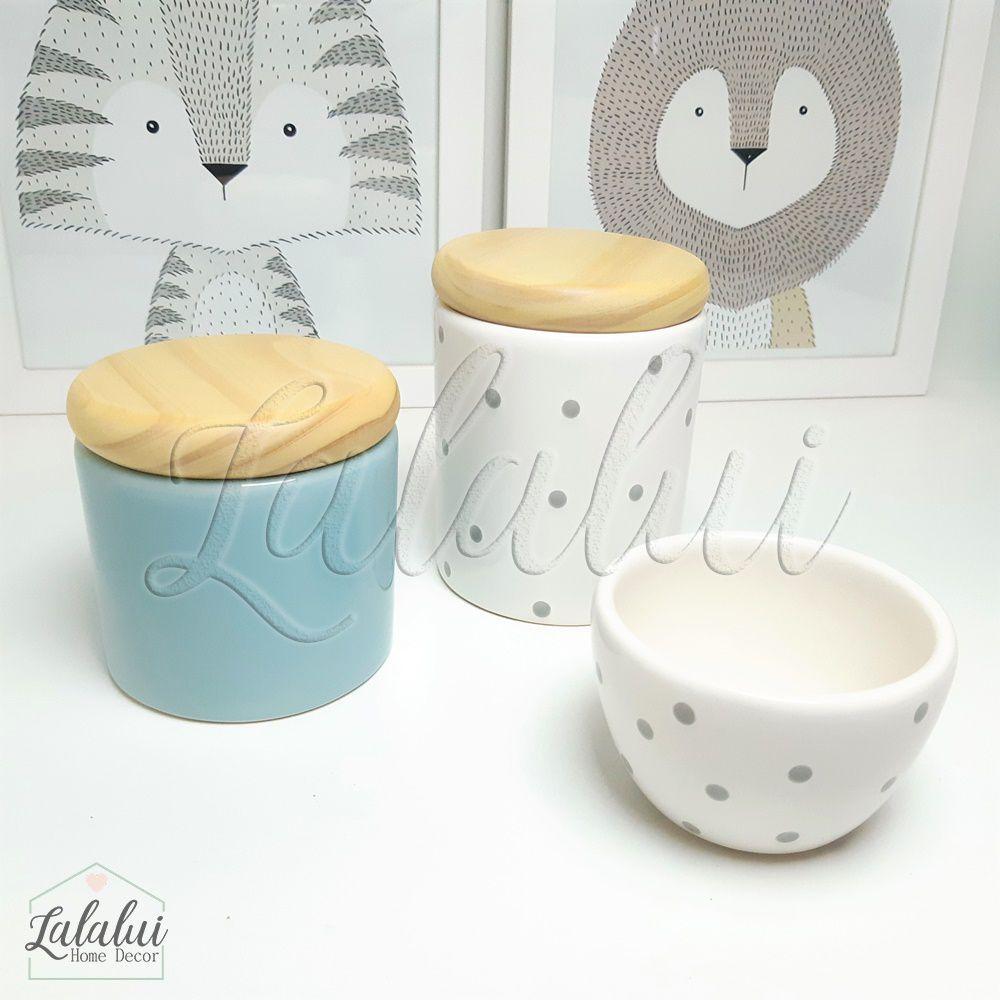 Kit de Potes | Azul Candy, Branco com Poás e Tampa de Madeira - P37