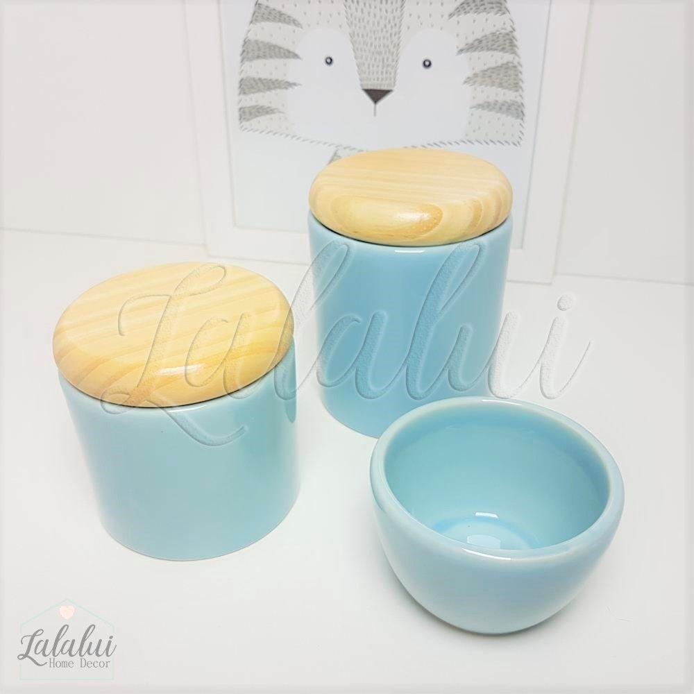 Kit de Potes | Azul Candy e Tampa de Madeira - P32