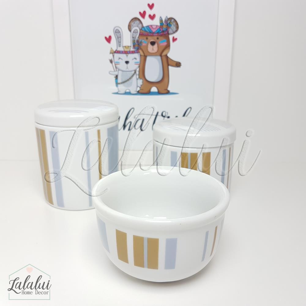 Kit de Potes | Branco com Listras Azul e Marrom - P29