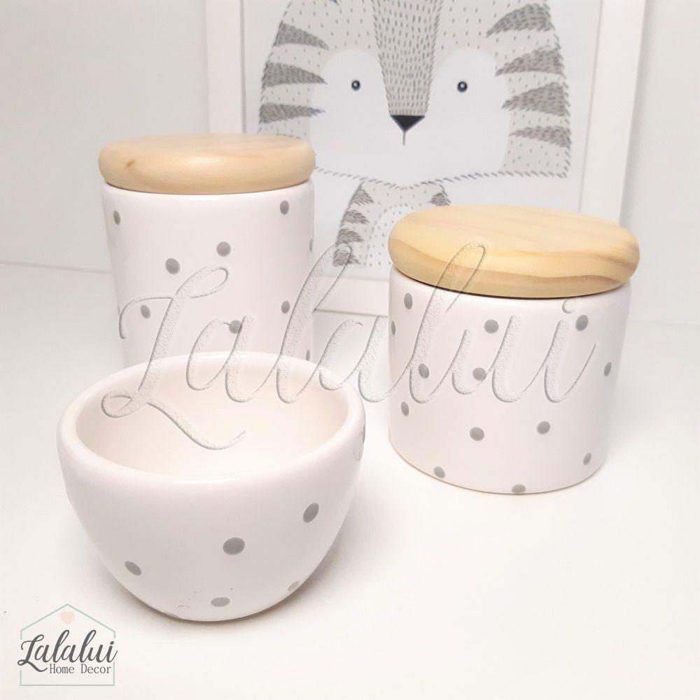 Kit de Potes | Branco com Poá Cinza e Tampa de Madeira - P39