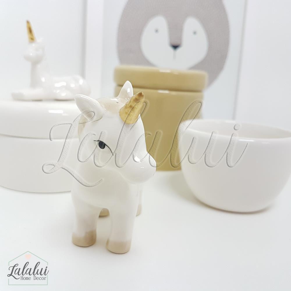 Kit de Potes | Branco e Caqui com Unicórnios - P16