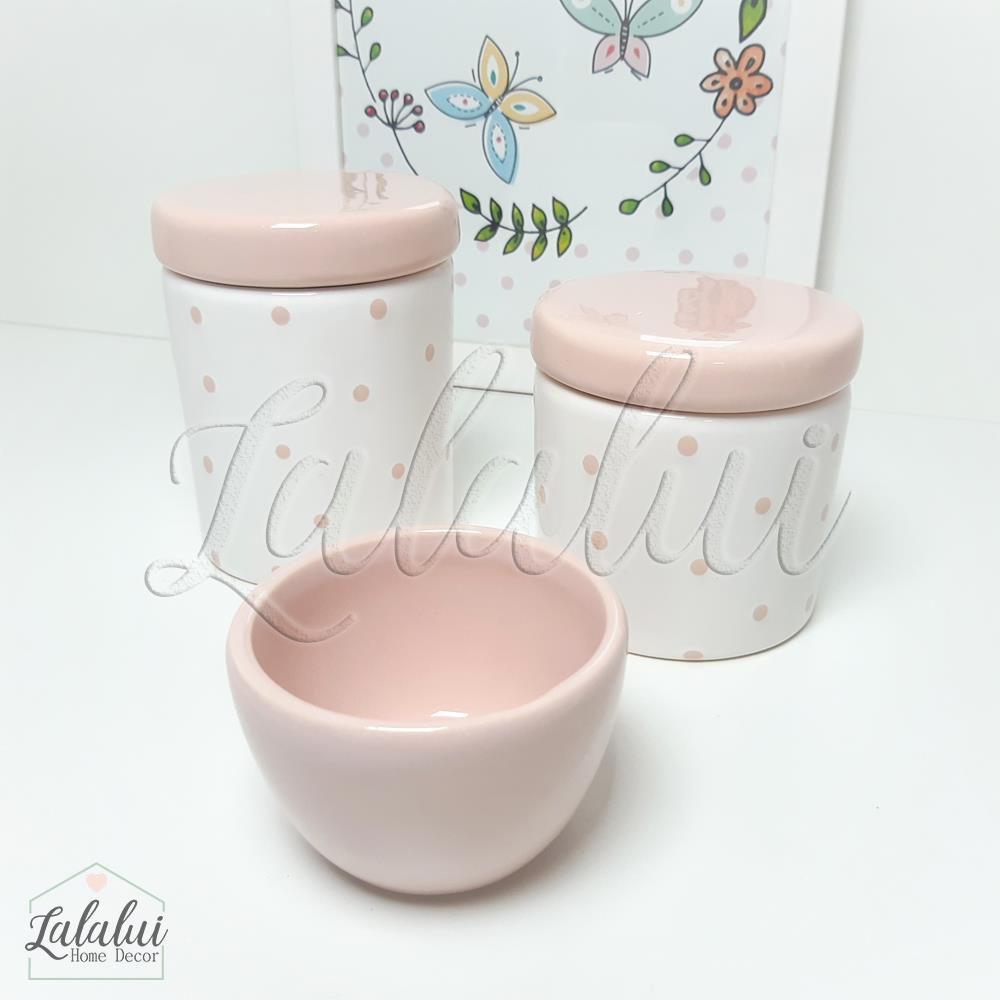 Kit de Potes | Branco e Rosa Candy com  Poás Rosa - P35