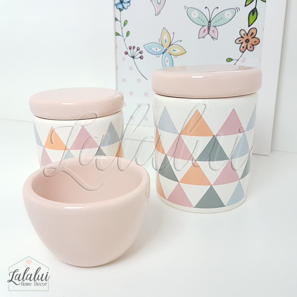Kit de Potes | Branco e Rosa com Triângulos - P13