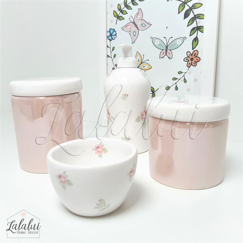 Kit de Potes | Branco e Rosa Perolado com Floral - P33