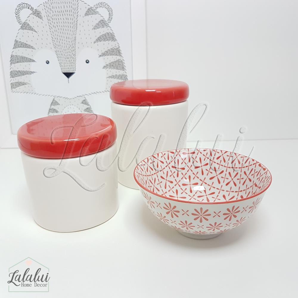 Kit de Potes | Branco e Vermelho - P11