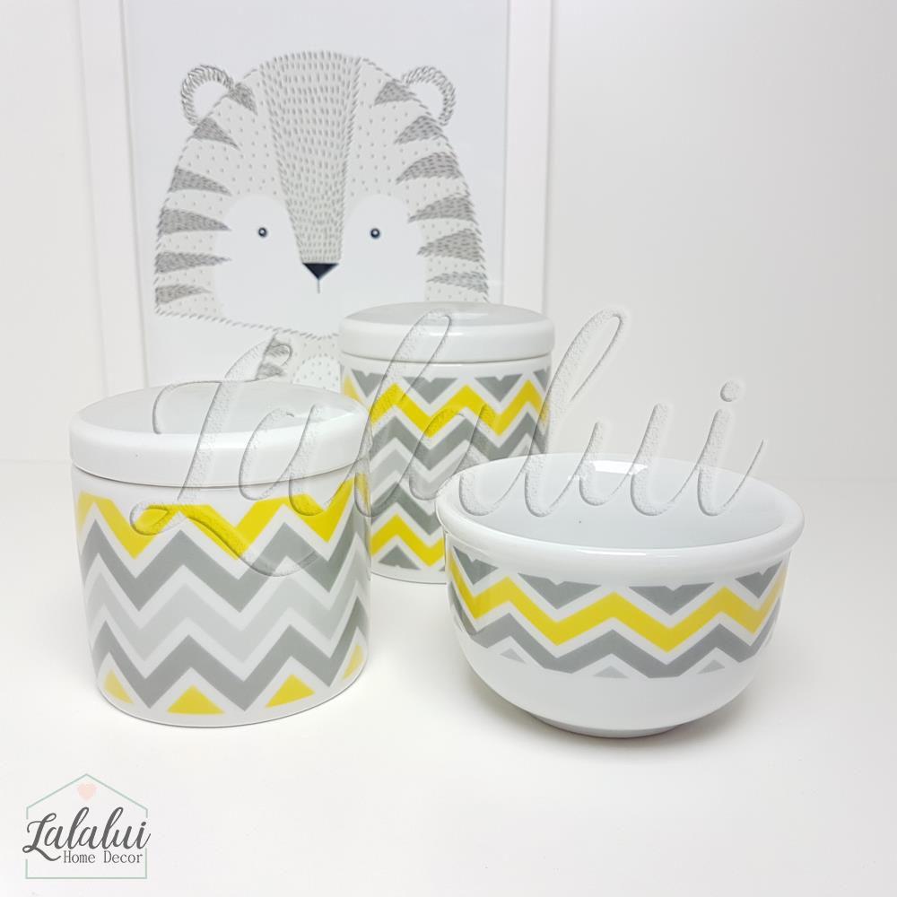 Kit de Potes | Branco com Chevron Cinza e Amarelo - P25