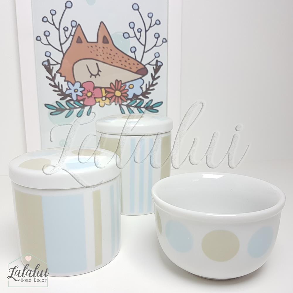 Kit de Potes | Branco com Listras Azul e Bege - P26