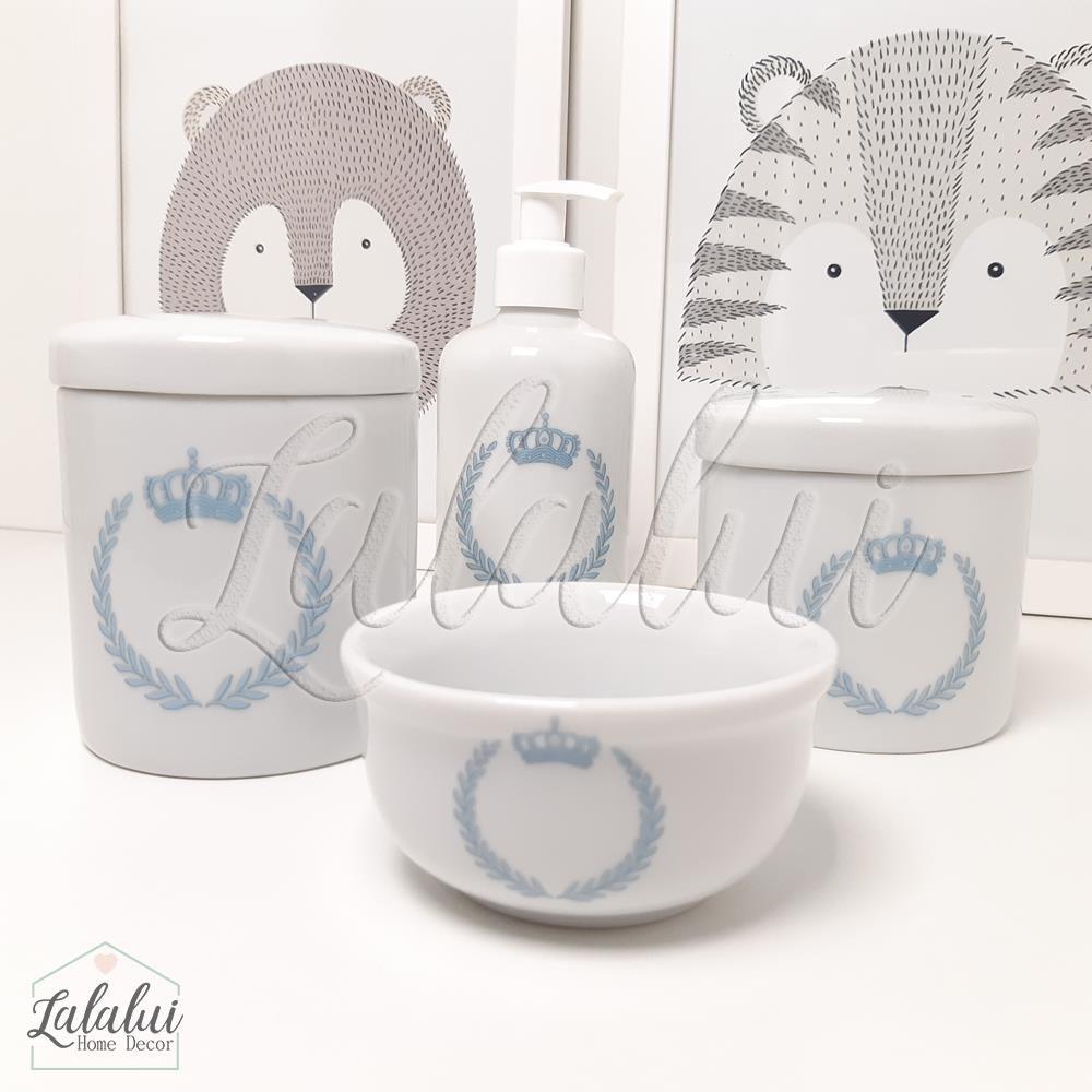 Kit de Potes | Branco com Coroa Azul - P08
