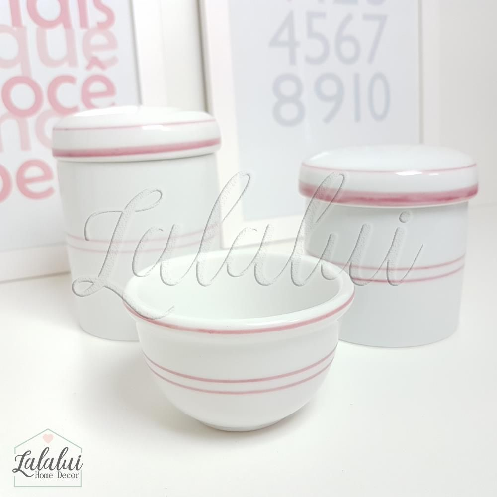 Kit de Potes | Branco com Filete Rosa - P09
