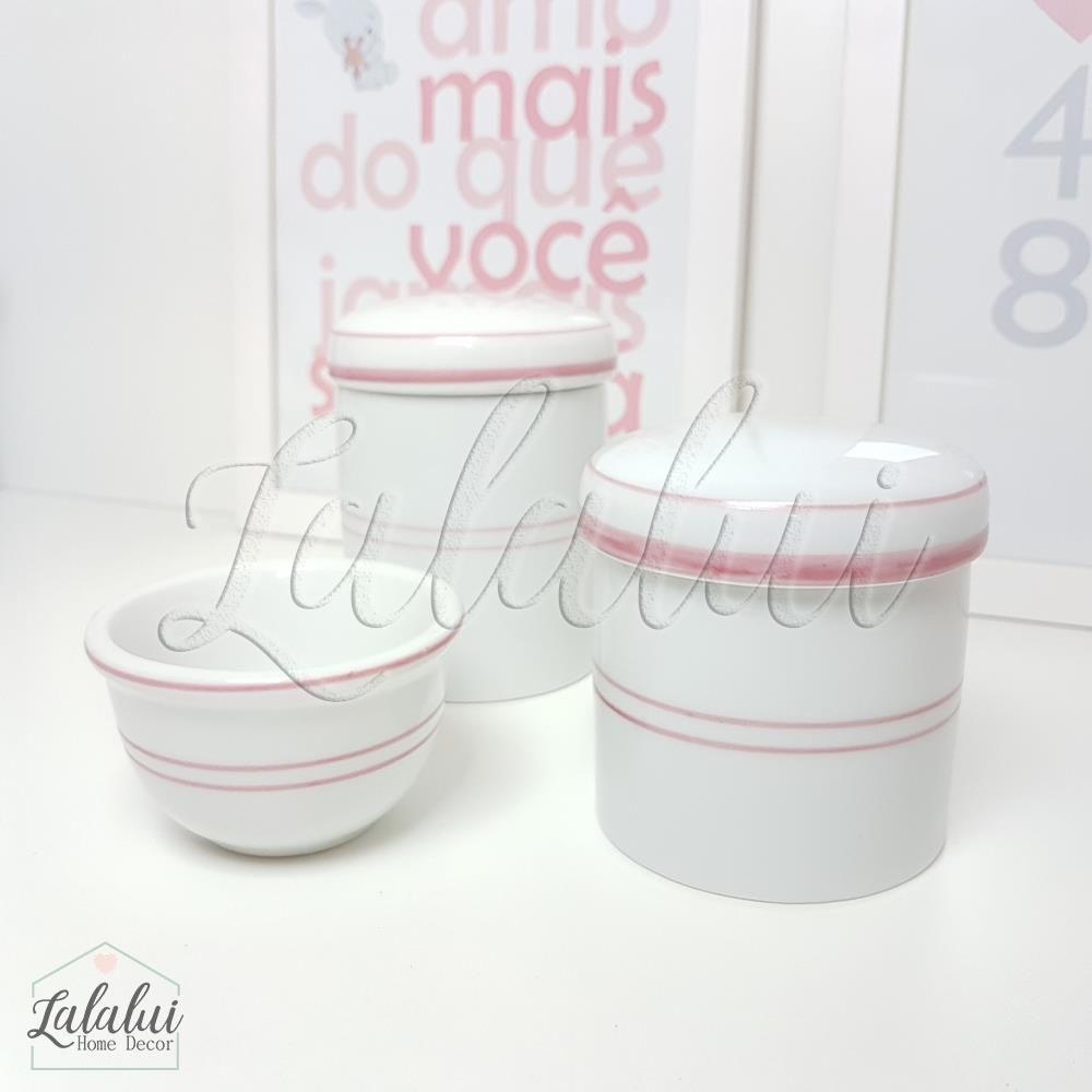 Kit de Potes | Branco com Filete Rosa - P09