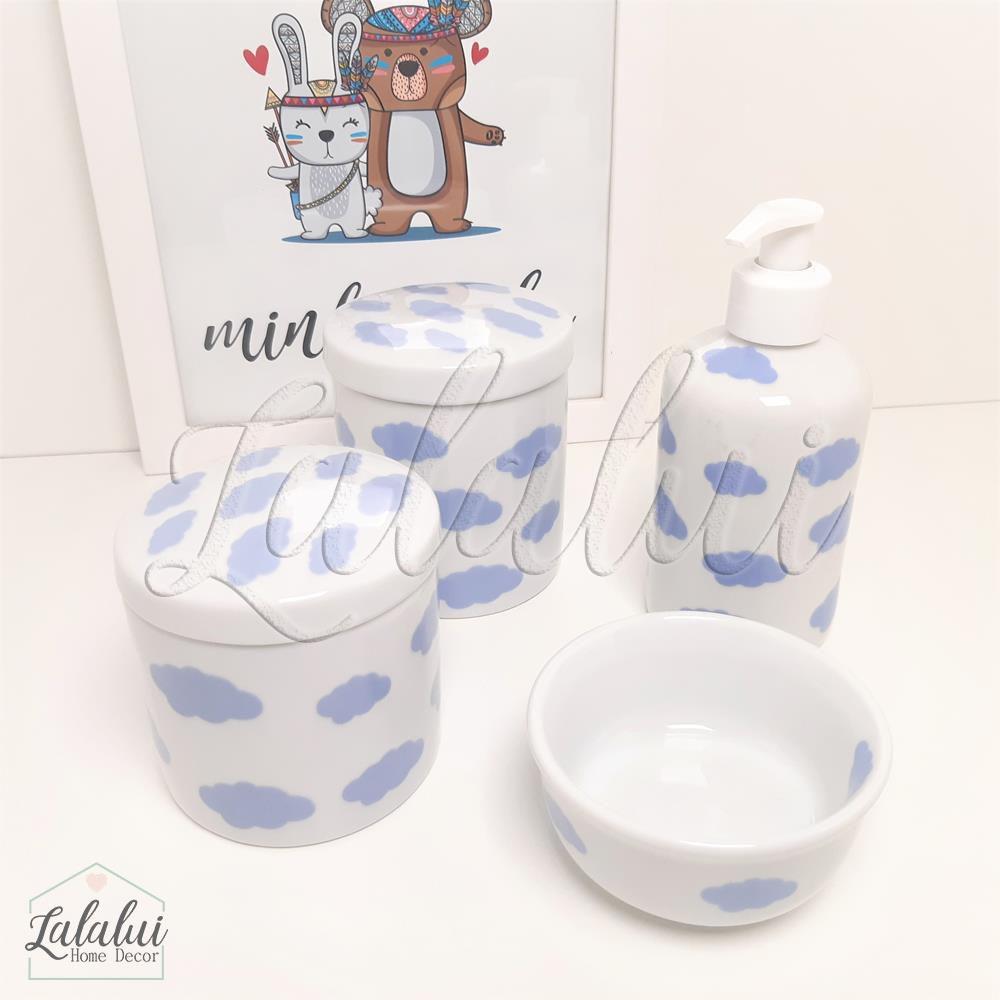 Kit de Potes | Branco com Nuvens Azuis - P34