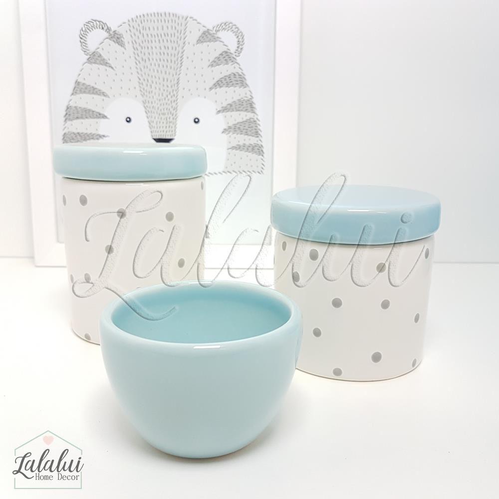 Kit de Potes | Branco e Azul Candy com  Poás Cinza - P20