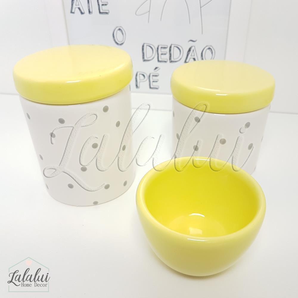 Kit de Potes | Branco e Amarelo com Poás Cinza -  P17