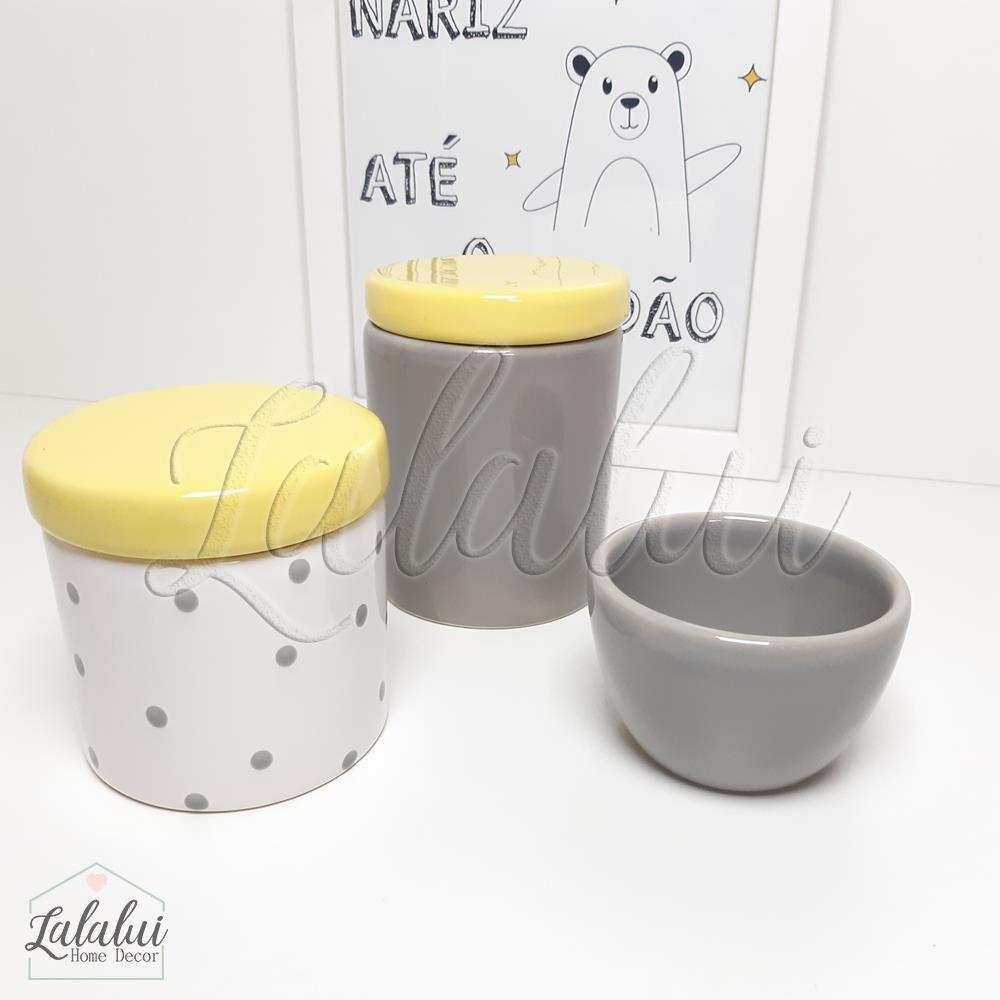 Kit de Potes | Cinza, Amarelo e Branco com Poás -  P31