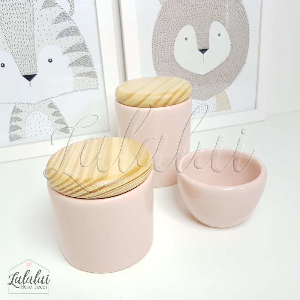 Kit de Potes | Rosa Candy e Tampa de Madeira - P07