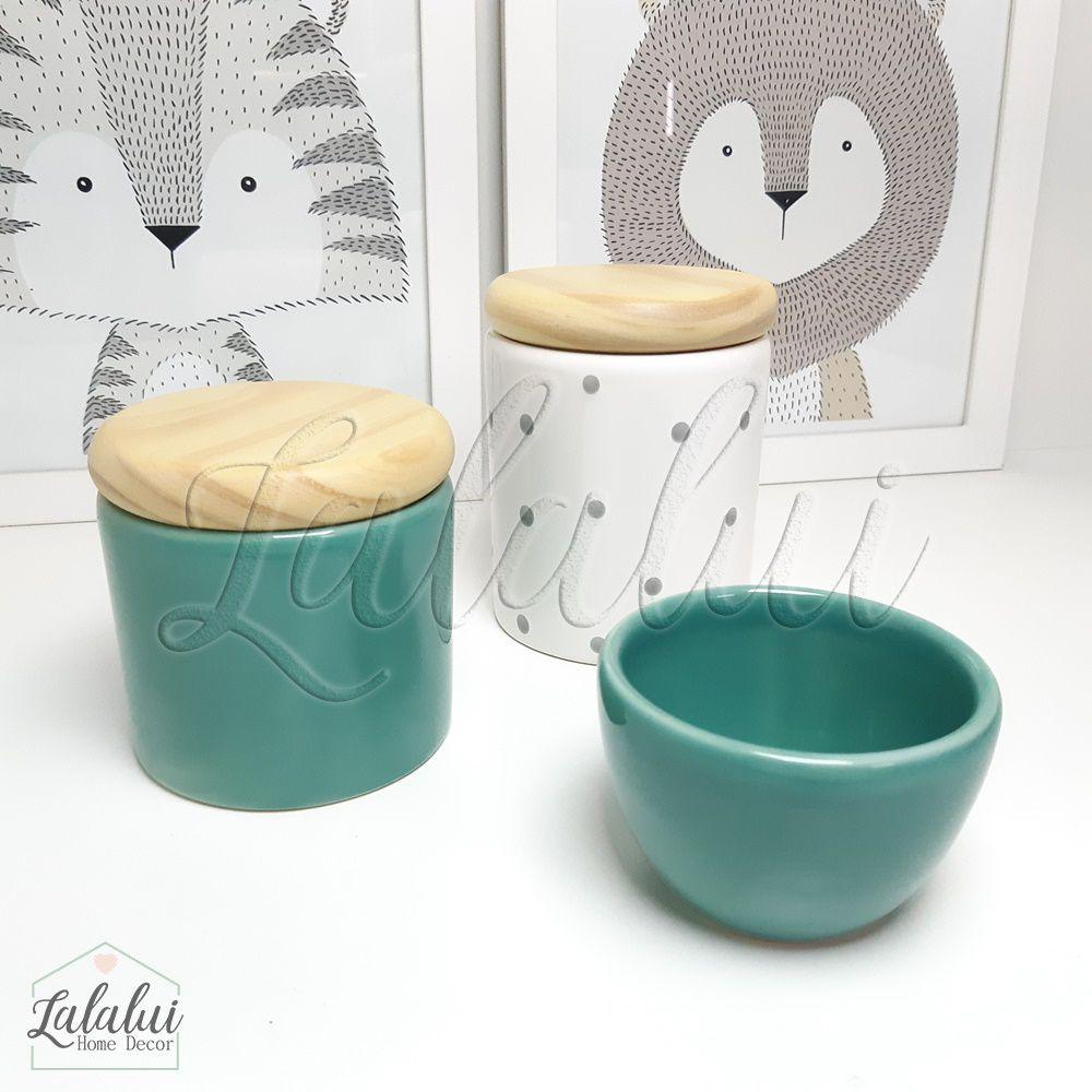 Kit de Potes | Verde Turquesa e Tampa de Madeira - P28