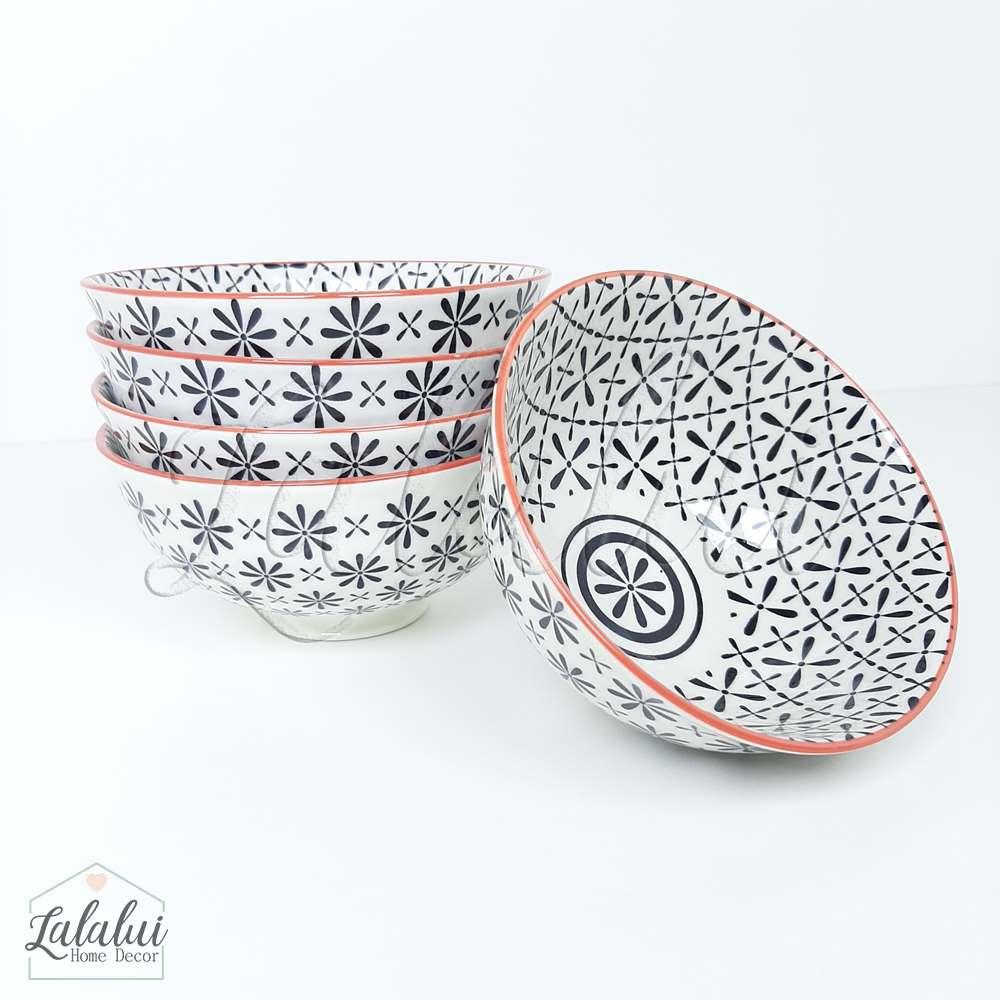 Utilidade | Bowl Cerâmica  12X6 cm - preto e vermelho (LA2151)
