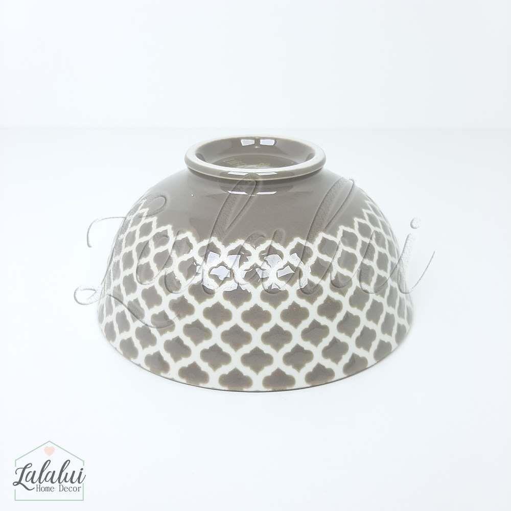Utilidade | Bowl Cerâmica  12X6 cm - vermelho, branco e cinza (LA2157)