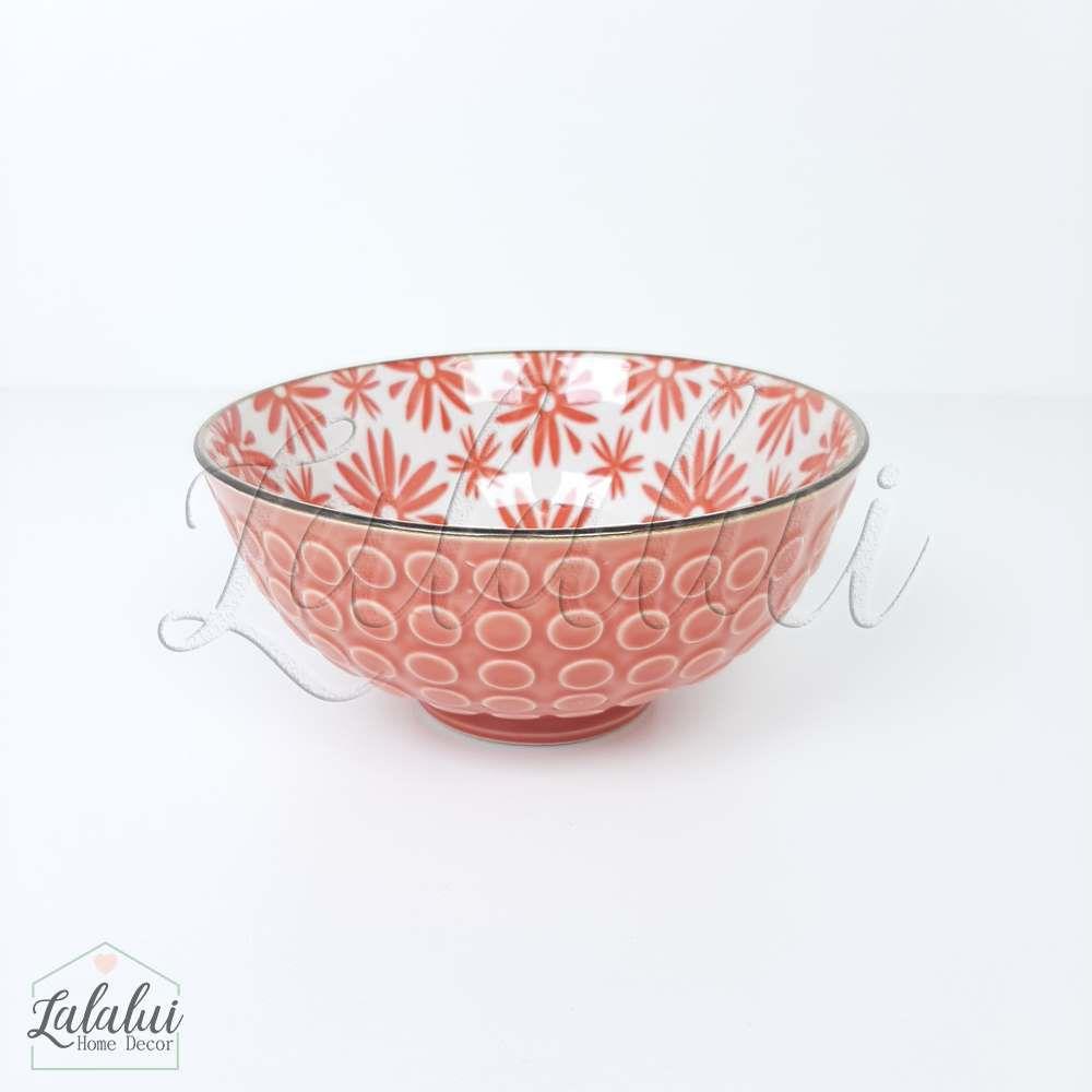 Utilidade | Bowl Cerâmica  12X6 cm - vermelho c/ poás e flores (LA2153)