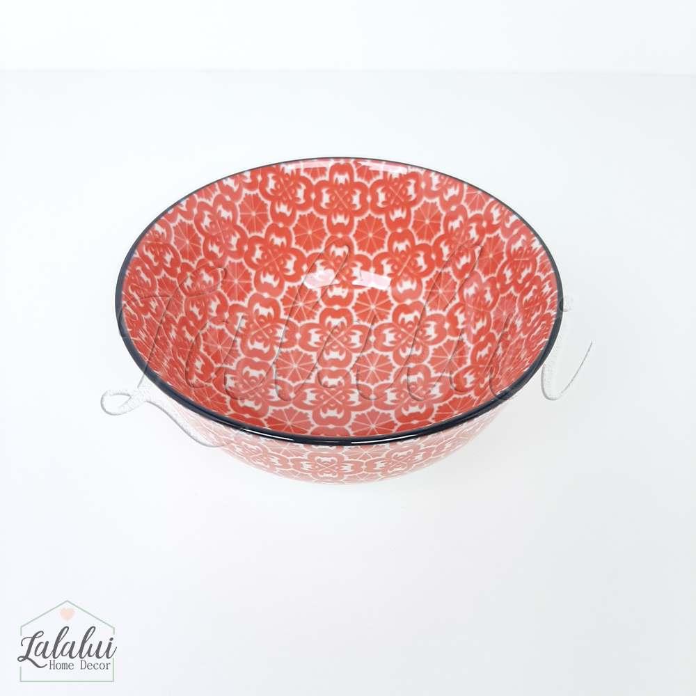 Utilidade | Bowl Cerâmica  12X6 cm - vermelho e branco (LA2155)