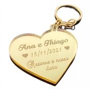 Chaveiros Casamento Acrílico Dourado Espelhado Coração Reserve a nossa data