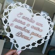 """Placa Coração MDF Branco com Dourado """"E serão um para o outro e ambos para Deus"""" 35cm"""