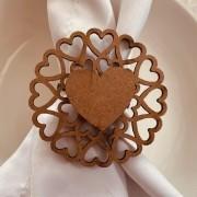 Porta Guardanapos Coração MDF Cru Casamento