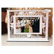 Ref. 104 - Quadro Porta Retratos Padrinhos Personalizado Casamento - MDF Branco