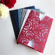 Ref. 002 - Envelope para Convite Casamento 13x18cm Corte a Laser Floral Papel Color Plus 180g