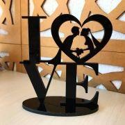 Ref. 002 - Topo de Bolo Acrílico Love Coração Noivos Casamento 15cm