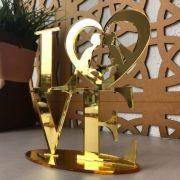 Ref. 002 - Topo de Bolo Love Coração Noivos Casamento 15cm Dourado Espelhado