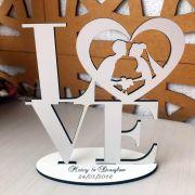 Ref. 002 - Topo de Bolo MDF Branco Love Noivos Casamento 15cm