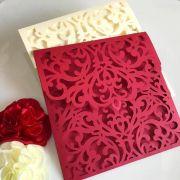 Ref. 003 - Envelope para Convite Casamento 18x18cm Corte a Laser Arabesco Papel Color Plus 180g