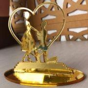 Ref. 003 - Topo de Bolo Coração Noivos Casamento 15cm Dourado Espelhado