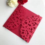 Ref. 004 - Envelope para Convite Casamento 18x18cm Corte a Laser Arabesco Papel Color Plus 180g